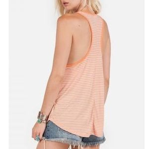 Volcom Tops - Volcom lived in orange striped racerback tank top